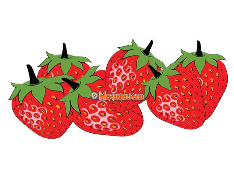 cara mudah mewarnai buah strawberry
