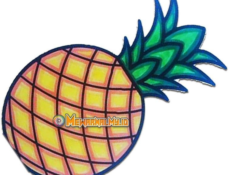 cara menggambar dan mewarnai buah nanas