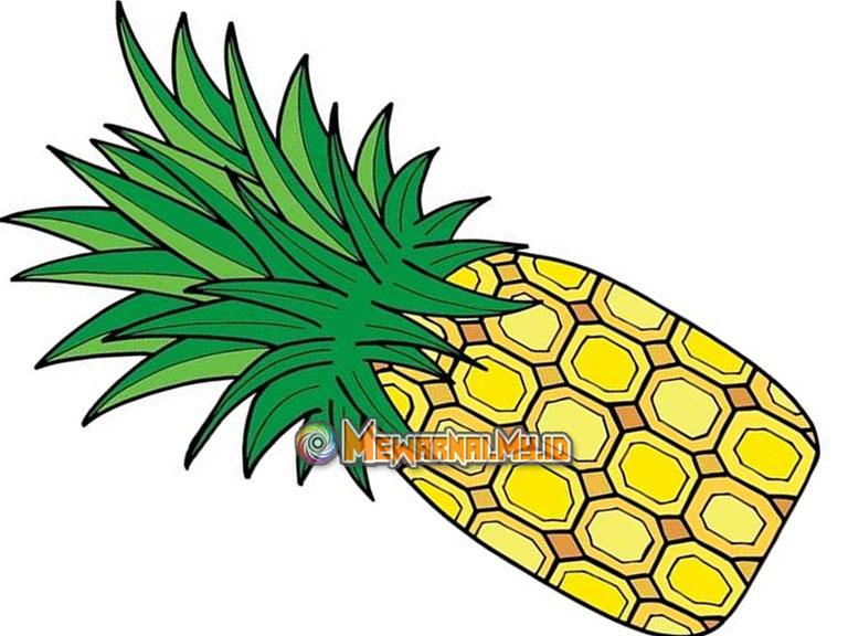 gambar buah nanas kartun untuk mewarnai
