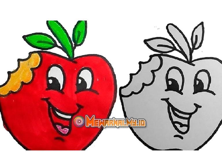 mewarnai gambar buah apel